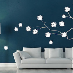 DIY Vinyl Wall Decals - Make your inside wall feel like an outdoor paradise with the Contemporary Branch Flowers Vinyl Wall Decal!