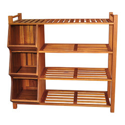None - Outdoor 4-tier Shoe Rack/ Cubby - Organize your closet or entryway with this wooden shoe ...
