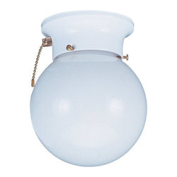 """Sea Gull Lighting - Sea Gull Lighting 5997BLE Compact Fluorescent Energy Star Single Light Pull Chai - Single Light Close to Ceiling Fluorescent with White Finish and White Glass HousingIncludes 6 1/2"""" of wireRequires 1 - GU24 Self Ballasted 13w max Bulb (Included)Includes On-Off Pull Chain"""