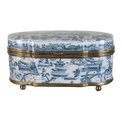 Oriental Danny - Blue and white box with bronze ormolu - An oval shaped blue and white box with bronze ormolu hinge. The pattern is famous blue willow design. Great for coffee table and hide remotes and keys. Or just great looking sets by itself.