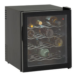 Frontgate - Avanti 16 Bottle Wine Cooler with Reversible Glass Door - Chills up to 16 wine bottles comfortably. Adjustable thermostat for ideal temperature controlled environment. Recessed handle accommodates tight spaces. Solid state components for reliability. State of the art thermoelectric technology prevents vibration. Our space-saving wine cooler chills up to 16 bottles of wine to serve at special occasions or intimate get-togethers. Compact design includes thermopane reversible glass door with recessed handle to easily fit under counters or in tight spaces. Neatly store or select the ideal bottle of wine with handy slide-out chrome shelves. Crafted with solid state components and thermoelectric technology to ensure dependability and prevent vibration.  .  .  .  .  . Black cabinet with thermopane reversible glass door . Slide-out chrome shelves . Auto defrost for easy maintenance . Soft interior lighting with on/off switch . Compact and portable at 27 lbs. . Imported