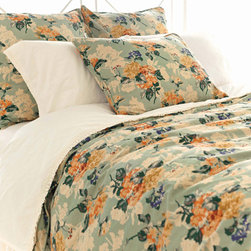 Pine Cone Hill - hydrangea duvet cover - Enjoy the arts-and-crafts feel of our farmer's market bedding collection featuring charismatic bursts of color softened by traditional patterns. A bright and cheery mellange of vintage and modern with classic sensibility, this collection mixes soft florals and plush textures to lend a traditional look and feel to decorative pillows, shams and bed skirts. Charming bedspreads and throw blankets finish the bed with casual sophistication.