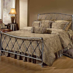 Hillsdale Furniture - Silverton Sleigh Metal Bed w Satin Beige Fram - Choose Size: QueenThis bed with its incredible lattice design is sure to complement any bedroom. Aluminum casting and heavy gauge tubing of this delightful piece ensures the stability of the bed. Sure to be the centerpiece of a well-designed bedroom, this bed will proof beautiful for years to come. Bronze pewter finish. * Includes headboard, footboard and rails. Mattress not included. Satin Beige bed frame. Lattice work design. Gently curved headboard. Brushed Silver finish. Full: 55.5 in. L x 48.5 in. H. Queen: 61.5 in. L x 48.5 in. H. King: 79.5 in. L x 48.5in. HThe Silverton bed has an uncommon beauty. The lattice work design is reminiscent of the button and tuck style. The charm of this daybed is carried through out in the gently curved headboard and footboard and Bronze Pewter finish.
