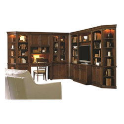 """Hooker Furniture - Cherry Creek Wall Curio Cabinet - White glove, in-home delivery included!  Includes furniture assembly!  Wall Curio Cabinet only. (Shown with Cherry Creek modular wall system.)  The Cherry Creek modular wall system allows you to design the function you need at a price much more affordable than custom built systems. Two wood-framed glass doors in top section open to reveal three adjustable wood-framed glass shelves, two wood doors in bottom section open to reveal one adjustable shelf, one light controlled by three-intensity touch switch, levelers, stained top.  Bottom Opening: 30 3/8"""" w x 13 5/8"""" d x 26"""" h   Top Opening (inside end panels): 30 3/8"""" w x 13 5/8"""" d x 51 1/2"""" h  Top Opening (inside pilasters): 28"""" w x 13 5/8"""" d x 51 1/2"""" h"""
