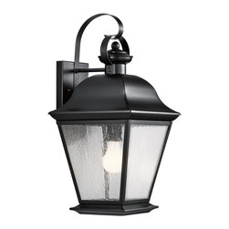 Kichler Lighting - Kichler Lighting Mount Vernon Traditional Outdoor Wall Sconce X-KB9079 - From the Mount Vernon Collection, this Kichler Lighting outdoor wall sconce features a traditional but stylish Olde Bronze finish that compliments the lantern shape. It also features coordinating etched seedy glass panels that complete the look. U.L. listed for wet locations.