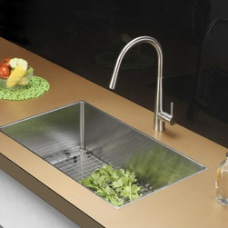 Ruvati - Ruvati RVC2323 Stainless Steel Kitchen Sink and Stainless Steel Faucet Set - Ruvati sink and faucet combos are designed with you in mind. We have packaged one of our premium 16 gauge stainless steel sinks with one of our luxury faucets to give you the perfect combination of form and function.