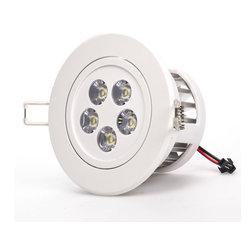 5 Watt LED Recessed Light Fixture - Aimable and Dimmable - Recessed Downlight with 5 x 1 Watt High Power LEDs. 95~140V AC operation. Available in Natural White - 4000K @ 380 lumen or Warm White - 3000K @ 370 lumen with medium spot 45 degree beam angle. White ABS housing with integral heatsink and polycarbonate lenses. Flush mounts in 3.74 inch hole with spring retaining clips. Pivots +/-30 degrees on one axis. Easily removed from flush mount bracket. Constant current dimmable driver included.