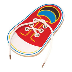 The Original Toy Company - The Original Toy Company Kids Children Play Tie Me - Constructed of hardwood, a lacing and tying activity to teach young children fine motor skills, hand/eye coordination and the process of tying shoes. Retail Packaging.