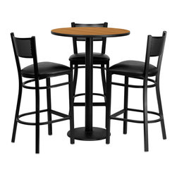 "Flash Furniture - 30'' Round Natural Laminate Table Set with 3 Grid Back Metal Bar Stools - 30"" Round Natural Laminate Table Set with 3 Grid Back Metal Bar Stools - Black Vinyl Seat; Round Table and Metal Restaurant Bar Stool Set; Set Includes 3 Bar Stools, Round Table Top and Round Base; Metal Restaurant Bar Stool; Grid Back Design; Grid Back Design; Black Vinyl Upholstered Seat; 2.5"" Thick 1.4 Density Foam Padded Seat; CA117 Fire Retardant Foam; 18 Gauge Steel Frame; Welded Joint Assembly; Two Curved Support Bars; Foot Rest Rung; Black Powder Coated Frame Finish; Plastic Floor Glides; Lightweight Design; Designed for Commercial Use; Suitable for Home Use; Overall Size: 19""W x 19.5""D x 42.25""H; Seat Size: 16.75""W x 16.5""D x 30.25""H; Back Size: 16""W x 12.25""H; Restaurant/Banquet Table Top; 1.125"" Thick Round Top; Weight: 98 lbs; Overall Dimensions: 30""W x 30""D x 42""H"
