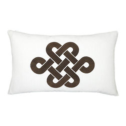 """NECTARmodern - Fortune Knot (white/Brown) chinoserie embroidered throw pillow 20"""" x 12"""" - Add a touch of chinoiserie to your home with our lucky knot pillow in a modern colorway. White with Brown embroidery. Solid white back. Also available in teal, green, and Brown colorways. Designer quality cover with overstuffed feather/down insert."""