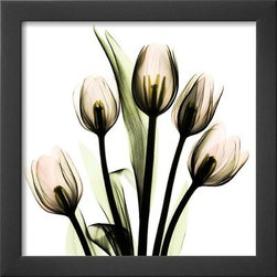 Artcom - Crystal Flowers X-ray, Tulip Bouquet by Albert Koetsier - Crystal Flowers X-ray, Tulip Bouquet by Albert Koetsier is a Framed Art Print set with a SOHO Thin wood frame.