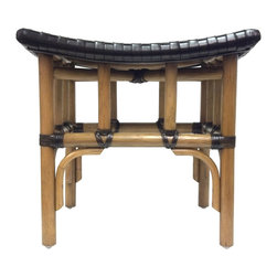 Selamat Designs - Leather Woven Stools, Nutmeg - Accessorize your living room, family room, or bathroom with this Leather Woven Stool. It features leather reinforced rattan frame and woven leather seat.