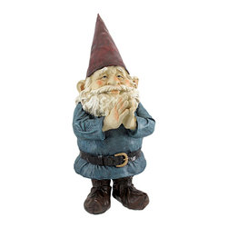 20 Inch Tall Garden Gnome Greeter Statue - This awesome, 20 inch tall garden gnome statue will greet all of the visitor to your home with bright blessings. Made of cold cast resin, he`ll look great on front porches, front steps, patios and gardens. He`s 20 inches tall, 7 1/2 inches wide and 10 inches deep. He makes a great housewarming gift.