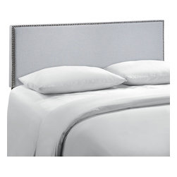 LexMod - Region Queen Nailhead Upholstered Headboard in Gray - Enhance your bed of choice with a spaciously designed modern headboard. Region captures the expansive moments of restful nights with an elegance that doesn't detract from the simplicity of the design. Made of particleboard with solid wood poles, fine linen upholstery, and a fashionable nail button trim, rejoice with a contemporary design that admirably compliments your contemporary decor.