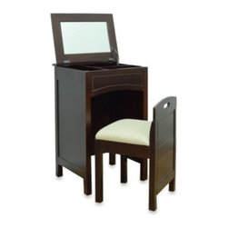 Lamont Home - Cheswick Vanity Storage Unit and Seat in Espresso - This unique, wood vanity table features divided storage and a flip-up mirror with a slow-close hinge for added safety. The vanity seat is cushioned and stows neatly inside the table.