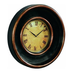Bassett Mirror - Old World Dayton Wall Clock in Espresso & Antique Gold - MC3103 - Belongs to Old World Collection by Bassett Mirror Company