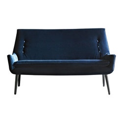Jonathan Adler - Jonathan Adler Mrs Godfrey Settee - The Jonathan Adler Mrs. Godfrey settee pairs retro style with contemporary cool. Atop mod maple legs, its custom upholstered seat accepts classic influence with tufted detailing. Solid maple legs; Custom upholstery; Benchmade in USA