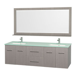 "Wyndham Collection - Wyndham Collection 72"" Centra Grey Oak Double Vanity w/ Square Porcelain Sink - Simplicity and elegance combine in the perfect lines of the Centra vanity by the Wyndham Collection. If cutting-edge contemporary design is your style then the Centra vanity is for you - modern, chic and built to last a lifetime. Available with green glass, or pure white man-made stone counters, and featuring soft close door hinges and drawer glides, you'll never hear a noisy door again! The Centra comes with porcelain sinks and matching mirrors. Meticulously finished with brushed chrome hardware, the attention to detail on this beautiful vanity is second to none."