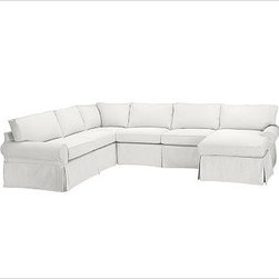 """PB Basic Left 4-Piece Chaise Sectional Slipcover, Denim Warm White - Designed exclusively for our PB Basic Sectional, these easy-care slipcovers have a casual drape, retain their smooth fit, and remove easily for cleaning. Select """"Living Room"""" in our {{link path='http://potterybarn.icovia.com/icovia.aspx' class='popup' width='900' height='700'}}Room Planner{{/link}} to select a configuration that's ideal for your space. This item can also be customized with your choice of over {{link path='pages/popups/fab_leather_popup.html' class='popup' width='720' height='800'}}80 custom fabrics and colors{{/link}}. For details and pricing on custom fabrics, please call us at 1.800.840.3658 or click Live Help. All slipcover fabrics are hand selected for softness, quality and durability. {{link path='pages/popups/sectionalsheet.html' class='popup' width='720' height='800'}}Left-arm or right-arm configuration{{/link}} is determined by the location of the arm on the love seat as you face the piece. This is a special-order item and ships directly from the manufacturer. To view our order and return policy, click on the Shipping Info tab above."""
