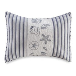 C & F Enterprises, Inc. - Seaside Stripe Standard Sham - This prewashed cotton standard sham coveys the airy feel of a seaside getaway. It has chambray blue and white stripes with embroidered shells and starfish, and is highlighted by vermicelli quilting for a quaint finish.