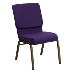Flash Furniture - Hercules Series 18.5'' Wide Royal Purple Church Chair With 4.25'' Thick Seat- Go - This HERCULES Series Church Chair will add elegance and class to any Church, Hotel, Banquet Room or Conference setting. If you are looking for a chair with comfort and style that is easy to move and stores away with ease, then look no further. This built to last chair has a 16-gauge steel frame that has been tested to hold 600 lbs. This church chair features double support bracing, ganging clamps, a cushion that graduates to a 4.25'' thick waterfall edge and plastic floor glides to protect non-carpeted floors. Our church chair is manufactured by one of the most reputable stack chair manufacturers in the industry, you can be assured of the quality of this chair offered to you.