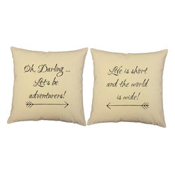 RoomCraft - Be Adventurers Throw Pillow Covers 16x16 Natural Color Shams - FEATURES: