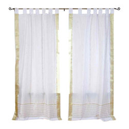 Indian Selections - Pair of White with Gold Tab Top Sheer Sari Cafe Curtains, 43 X 36 In. - Several sizes available