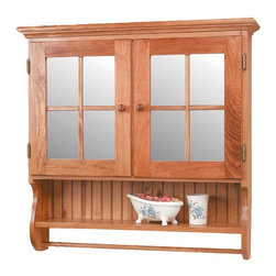 Renovators Supply - Medicine Cabinets Honey Pine Double Medicine Cabinet | 154014 - Windowpane Mirror Double Door : Our cabinet features a double mirror and grill with a storage compartment and towel bar below. 32 1/2 inch wide x 32 inch high x 7 1/2 inch deep. Honey pine finish.