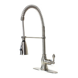 """Ultra Faucets - European Style Lead Free Coil Spring Brushed Nickel Kitchen Faucet& Deck Plate - European Style Lead Free Coil Spring Kitchen Faucet. Brushed Nickel Finish. Single Hole Installation. Matching Brushed Nickel Finish Deck Plate Included. Dimensions 21"""" x 6""""."""