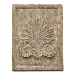Kathy Kuo Home - Maçonnerie Antique French Country Acanthus Leaf Carved Wood Wall Sculpture - Inspired by master European stonework, this antiqued carved wooden panel gives your country cottage décor a sense of history.  With an exotic succulent plant design and a raised center panel, this rectangular frame brings a piece of the Roman Empire to your wall.