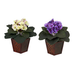 Nearly Natural - African Violet with Vase Silk Plant (Set of 2) - You'll get twice the beauty with this eye-catching pair of supple African Violets. With a bold, lush bed of green leaves set atop a decorative wood planter, these colorful blooms bring a ray of African sunshine into any room. Place them on either side of a desk or bookcase, or split them up if you wish and brighten up two rooms at once!