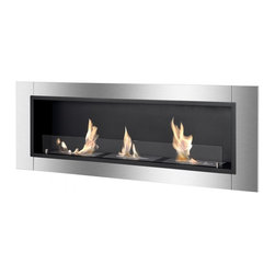 Ignis - Ardella Ethanol Fireplace - Recess or Wall Mounted, With Safety Glass - The Ardella Ethanol Fireplace is designed to be recessed into the wall or hung onto the wall using the included brackets. This clean-burning fireplace uses bio ethanol fireplace fuel, a liquid fuel that only produces heat, water vapor and trace amounts of carbon dioxide into the air. Because of this, this fireplace is ventless and doesn't need electricity to operate.