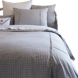 Taylor Linens - Charleston Grey King Duvet Cover - Looking for bedding that moves from vintage to modern in no time flat? Cross it off your list! Inspired by old-fashioned cross-stitch, the gray and white geometrics look thoroughly modern for go-with-anything ease. Add to that the crisp trim detail and you can hold your head up in style.