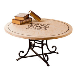 Hillsdale Furniture - Hillsdale Belladora Round Coffee Table in Copper Gold - Go beyond the occasional basics with Hillsdale's Belladora Coffee Table. This round, stone table features an acid-etched, romantic vine design in the center, accented by our hallmark fleur di lis. The Belladora sits a top an elegantly arched metal base with a copper gold finish. Some assembly required.