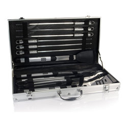 Picnic time - Mirage Pro-Aluminum 18Pc Barbecue Set - The Mirage Pro is a high-quality, 11-piece stainless steel barbecue tool set that features all the tools a serious grill master could ask for. Each utensil in this compact set was designed with the grill master in mind. The attractive and durable aluminum-accented carrying case holds 11 stainless steel barbecue utensils. Each BBQ tool was cleverly designed with an extra long aluminum handle to keep your hands away from the heat and includes a loop at the end for hanging on the hooks of your barbecue. The Mirage Pro is ideal for outdoor barbecues, picnics, and camping and makes a great gift for those who enjoy barbecuing.