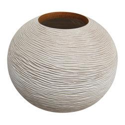 Bahari - Mango Wood Chiseled Round Vase - Mango Wood Chiseled Round Vase.  Handcrafted from a one solid piece of Mango wood. Glass liner included