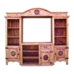 Million Dollar Rustic - 4 Pc Entertainment Wall Unit - One drawer. Three shelves on each side. Three shelves at the bottom. Three storages with star on each door. Made from white pine. Inside: 43 in. W x 40 in. H. Overall: 90 in. W x 21 in. D x 82 in. H (145 lbs.)