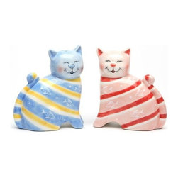 ATD - 3 1/8 Inch Blue and Pink Striped Cat Salt and Pepper Shaker Set - This gorgeous 3 1/8 Inch Blue and Pink Striped Cat Salt and Pepper Shaker Set has the finest details and highest quality you will find anywhere! 3 1/8 Inch Blue and Pink Striped Cat Salt and Pepper Shaker Set is truly remarkable.