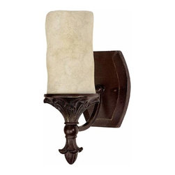 Capital Lighting Fixture Company - Mediterranean Bronze One-Light Wall Sconce - -Rust scavo candle glass Capital Lighting Fixture Company - 1041MZ-125