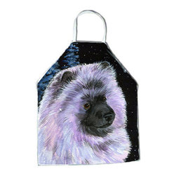 Caroline's Treasures - Starry Night Keeshond Apron SS8412APRON - Apron, Bib Style, 27 in H x 31 in W; 100 percent  Ultra Spun Poly, White, braided nylon tie straps, sewn cloth neckband. These bib style aprons are not just for cooking - they are also great for cleaning, gardening, art projects, and other activities, too!