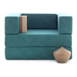 NYFU - The Transformer Turquoise - An armchair with side storage that transforms into a love seat, lounger and a twin bed! You'll enjoy the super simple conversions as you create all forms effortlessly. This jaw dropping smart design will definitely impress your guests.The abundant Class A HR-35 foam cushioning brings extra comfort to both sitting and sleeping. Don't hesitate to use in all forms often, the foam is very durable and the cotton and linen base fabric maintains a firm surface for many years.