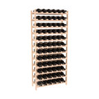 72 Bottle Stackable Wine Rack in Pine with Satin Finish - Four kits of wine racks for sale prices less than three of our 18 bottle Stackables! This rack gives you the ability to store 6 full cases of wine in one spot. Strong wooden dowels allow you to add more units as you need them. These DIY wine racks are perfect for young collections and expert connoisseurs.
