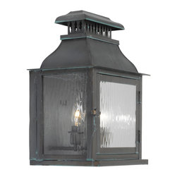 ARTISTIC - Elk Lighting Artistic 1300-OB Outdoor Wall Lantern Williams Towne - Outdoor Wall Lantern Williams Towne Collection In Solid Brass With A Verde Patina