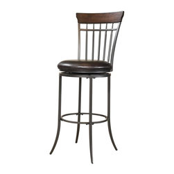 Hillsdale Furniture - Swivel Vertical Spindle Stool (31 in. Bar Hei - Choose Size: 31 in. Bar HeightChestnut brown finish and charcoal gray finishVertical Spindle backBrown faux leather seatWood panel on top. 18 in. W x 22 in. D x 42 in. H (28 lbs.)The Cameron spindle back swivel stool features vertical spindles and a wood panel at top of for added interest.Finished in Chestnut Brown and grey, this stool is handsome alone or paired with the other items in the Cameron collection.