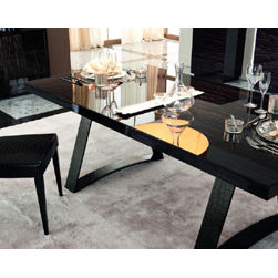 Nightfly Rectangular Table By Rossetto - Bring formal dining right inside your home with the Nightfly Rectangular Table. With its elegant glossy white,black or ebony finish,you can feel the ambiance of any high-end restaurant or cafe. The patterned surface of this table is topped with clear tempered glass for protection. Its legs are uniquely designed and covered in crocodile-patterned leather to complete the table's sophisticated look.