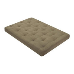 "Wolf Corp - USF-4 8"" Full Size Futon Mattress - Cedar Green Micro Fiber - The Wolf USF-4 Futon is a 8"" mattress with premium cotton/poly fiber fill with 2, 2.5"" high density finger foam cores.; Dimensions: 8""H x 54""W x 58""D"
