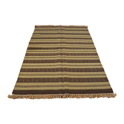 Flat Weave Beige & Brown 100% Wool 4'X6' Hand Woven Durie Kilim Area Rug SH6990 - Soumaks & Kilims are prominent Flat Woven Rugs.  Flat Woven Rugs are made by weaving wool onto a foundation of cotton warps on the loom.  The unique trait about these thin rugs is that they're reversible.  Pillows and Blankets can be made from Soumas & Kilims.
