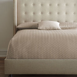 Horchow - Parlin King Bed - Tufted wing-back bed captivates with its sheltering shape and cozy elegance. The streamlined silhouette is sure to be the focal point of the bedroom. Handcrafted pine frame upholstered in linen/viscose over polyester fill and polyurethane foam. Sele...