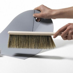 Dustpan & Broom - Inspired by how easy it was to sweep debris up with a newspaper, the designer went one step further with this bendable dustpan. Slim and compact, these cleaning products could hang nicely from a wall hook.