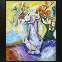 """overstockArt.com - Maurer - Flowers in a White Vase - 20"""" X 24"""" Oil Painting On Canvas Another exciting example of Fauvism; this circa 1910 still life Flowers in a White Vase gives the unique perspective of the painter showing the world the incredible skill in which Maurer was capable of seizing ordinary subject matter and turning it into a work of art. This enduring portrait of flowers in vase will add a burst of color to any room. Alfred Henry Maurer (1868 - 1932) was an American painter. He exhibited his work in Avant-garde circles internationally and in New York City during the early twentieth century. Highly respected today, his work met with little critical or commercial success in his lifetime. Having the distinction of being America's first modernist, Maurer experimented with many styles until settling into contemporary expression believing the overall perception of work was more important than the finer details. Above all, Maurer declared color arrangement to be the most important element in composition. He also believed art could not completely imitate nature, but nature could be intensified in art lending to his love and use of vivid color. Although much of Maurer's works are privately held, many are included in the collection of the Carnegie Museum of Art, the Chicago Art Institute, the Whitney Museum of American Art, and countless other across the nation."""